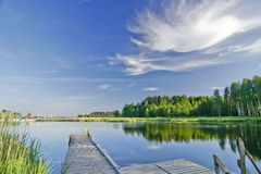 Summer landscape with lake Stock Image