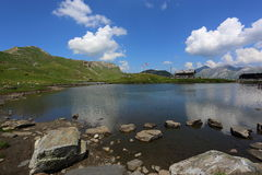 Summer landscape with lake and Alps Royalty Free Stock Images