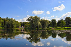 Summer landscape with lake and bridge in Gatchina park, Stock Images