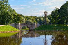 Summer landscape with lake and bridge in Gatchina park, Stock Photo