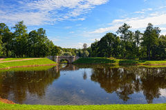Summer landscape with lake and bridge in Gatchina park, Stock Image
