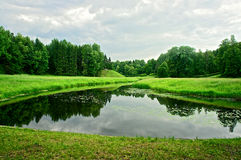 Summer landscape with the lake, forest and cloudy sky Royalty Free Stock Image