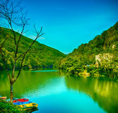 Lake Hamori with color boats in Lillafured, Hungary Stock Photography