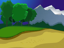 Summer landscape. Landscape on the background of the pond, the mountains and forests. Evening landscape. Green Glade. Beautiful background. Cartoon Stock Photo