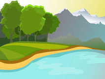 Summer landscape. Landscape on the background of the pond, the mountains and forests. Green Glade. Beautiful background. Cartoon Royalty Free Stock Image