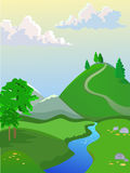 Summer  landscape. Landscape for browser games. Beautiful background. Big clouds on the sky. Yakraya greenery on the hills. Beautiful creek Royalty Free Stock Photography