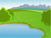 Summer landscape. Landscape with a pond. The hot, summer weather. Mountains in the background. Bushes and flowers in the meadow. Beautiful background. Cartoon Royalty Free Stock Photos