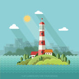 Summer landscape. The lighthouse on the background of the city. Stock Photo