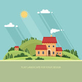Summer landscape.Little city street with small houses and trees. Stock Photo