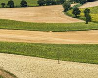 Summer landscape in Marches Italy near Castelfidardo. Rural landscape along the road from Montefano to Castelfidardo Ancona, Marches, Italy, at summer Royalty Free Stock Photo