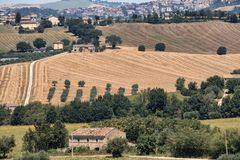 Summer landscape in Marches Italy near Montecassiano. Rural landscape along the road from Appignano to Montecassiano Ancona, Marches, Italy, at summer Stock Photo