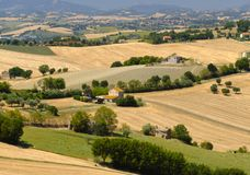 Summer landscape in Marches Italy near Ostra. Rural landscape along the road from Ostra to Jesi Ancona, Marches, Italy at summer Stock Photos