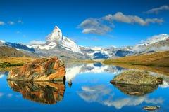 Summer landscape with Matterhorn peak and Stellisee lake,Valais,Switzerland Royalty Free Stock Image
