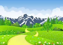 Summer landscape with meadows and mountains. Road and the forest, nature landscape, vector background. vector illustration in flat design Stock Photography
