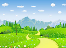 Summer landscape with meadows and mountains. Road and the forest, nature landscape, vector background. vector illustration in flat design Stock Images