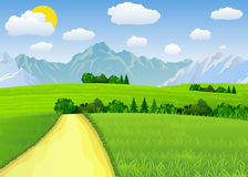 Summer landscape with meadows and mountains. Road and the forest, nature landscape, vector background. vector illustration in flat design Royalty Free Stock Photos