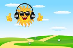 Summer landscape with a merry sun in headsets Stock Images