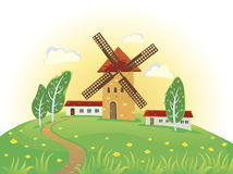 Summer landscape with a with mill. Vector illustration of stylized windmillSolar summer landscape Stock Photos