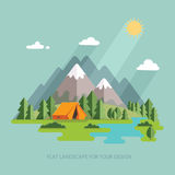 Summer  landscape. Morning landscape in the mountains. Solitude Royalty Free Stock Photography