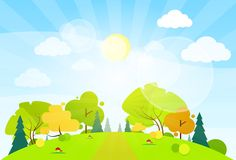 Summer landscape mountain forest road blue cloud. Sky with sun green grass and tree woods flat design vector illustration Stock Photos
