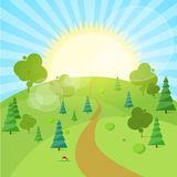 Summer Landscape Mountain Forest Road Blue Cloud. Sky With Sun Green Grass And Tree Woods Flat Design Vector Illustration Stock Photography