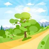 Summer Landscape Mountain Forest Road Blue Cloud. Sky With Sun Green Grass And Tree Woods Flat Design Vector Illustration Stock Photo