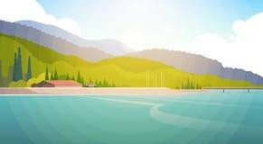 Summer Landscape Mountain Forest Sky Woods Seaside. Flat Vector Illustration royalty free illustration
