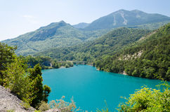 Summer landscape with mountain lake Royalty Free Stock Images