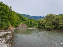 Summer landscape with mountain river. Belaya River in Republic of Adygea, Russia Stock Photo