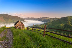 Summer landscape. Mountain village in the Ukrainian Carpathians. Royalty Free Stock Images