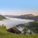 Summer landscape. Mountain village in the Ukrainian Carpathians. Royalty Free Stock Image