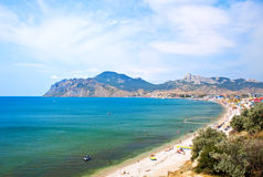 Summer landscape with mountains and sea Stock Images