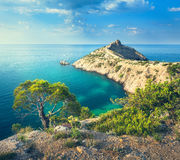 Summer landscape in mountains on seashore. Amazing view on the green tree, mountains, sea with turquoise water and colorful blue sky at sunrise. Travel in Stock Photography