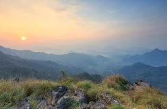 Summer landscape in the mountains during sunrise Royalty Free Stock Photo