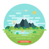 Summer landscape. Nature landscape with sun, mountains and clouds. Sunny day. Flat design vector illustration Royalty Free Stock Image