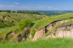 Summer landscape near Dnepr river. In Dnepropetrovsk city area, Ukraine stock images