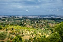 Summer landscape near Volterra, Tuscany Royalty Free Stock Photo