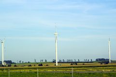 Summer landscape with new Windmills in fields stock photography