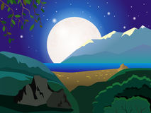 Summer landscape. Night landscape. On the moon, and the stars of the sky. Mountain landscape. Sandy shore. Sea. Stones. Beautiful background. Cartoon Stock Image