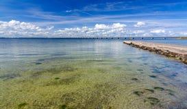 Summer landscape for Oland bridge. Swedish beach on Oland island royalty free stock photos