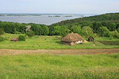Summer landscape - old Ukrainian architecture in the village Royalty Free Stock Photo