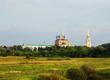 Summer landscape with orthodox cathedral Stock Photography