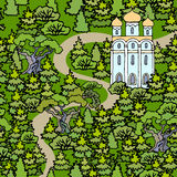 Summer landscape with an orthodox temple. Christian Church in th. E fir forest. Hand drawn picture Royalty Free Stock Photography