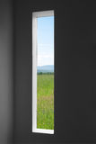 Summer landscape outside the window of a dark room Stock Photos