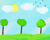 Summer landscape painted on canvas Royalty Free Stock Image