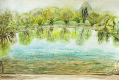 Summer landscape, painting Stock Images
