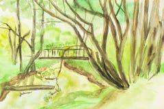 Summer landscape, painting Stock Photos