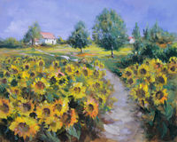 Painted sunflowers field Royalty Free Stock Images