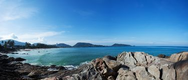 Summer landscape panorama of Patong beach in the morning Phuket stock image