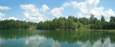 Summer landscape panorama with trees near quiet lake